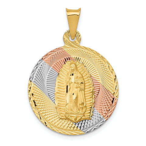14K & Rhodium Polished & D/C Lady of Guadalupe Circle Pendant