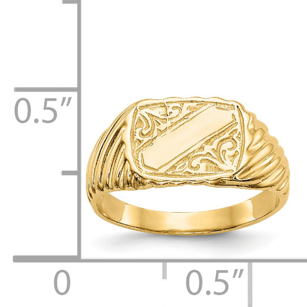 14K Gold Polished Baby Rectangle Signet w/Stripes Ring