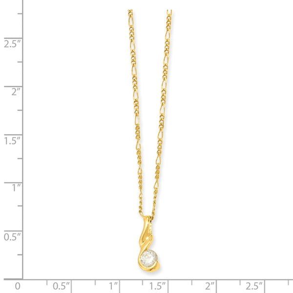 18in Gold-plated Kelly Waters Round CZ Necklace