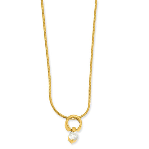 18in Gold-plated Kelly Waters Dangling Round CZ Necklace