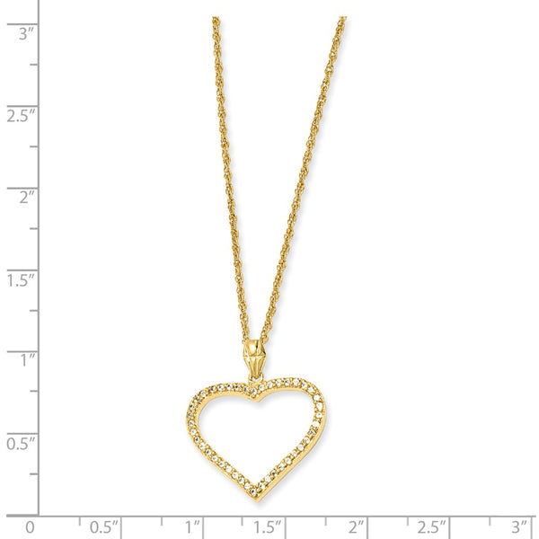 18in Gold-plated Kelly Waters CZ Heart Necklace