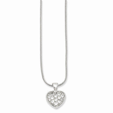 18in Rhodium-plated Kelly Waters CZ Pav' Heart Necklace