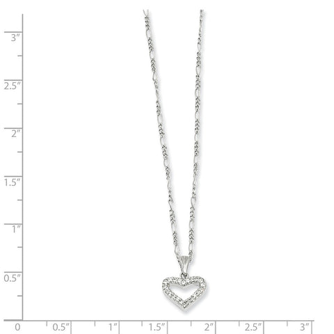 18in Rhodium-plated Kelly Waters CZ Heart Necklace