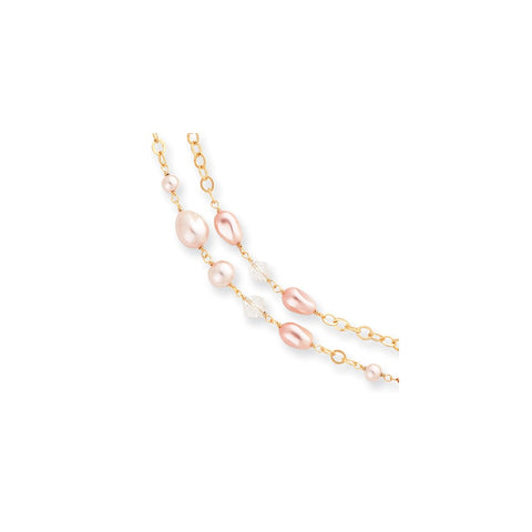 Gold-plated Kelly Waters Pink Simulated Pearl and Crystal Necklace
