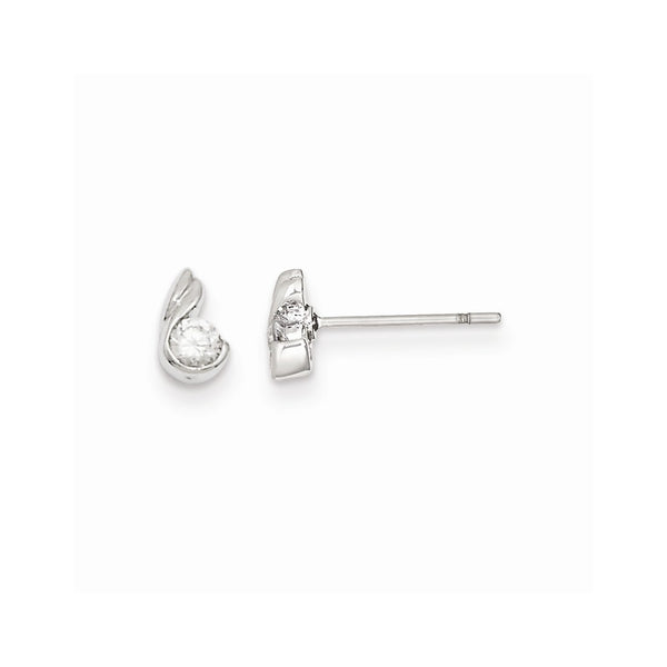 Rhodium-plated Kelly Waters Round CZ Earrings