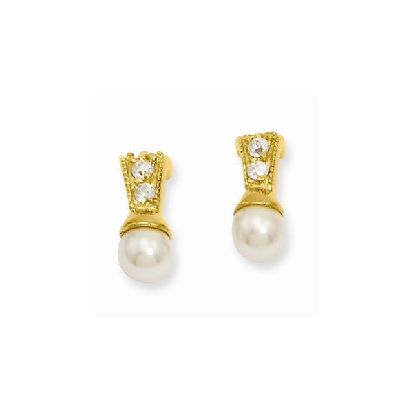 Gold-plated Kelly Waters White Simulated Pearl CZ Earrings