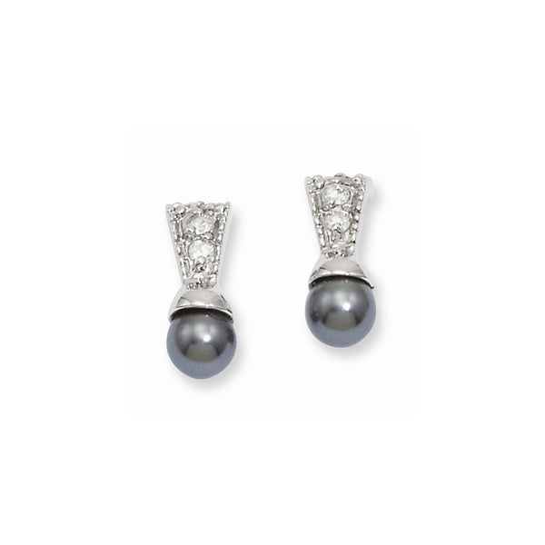 Rhodium-plated Kelly Waters Black Simulated Pearl CZ Earrings