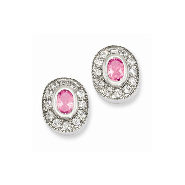 Rhodium-plated Kelly Waters October Birthstone Oval CZ Earrings