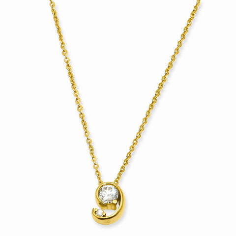 18in Gold-plated Kelly Waters Half Moon CZ Pendant Necklace