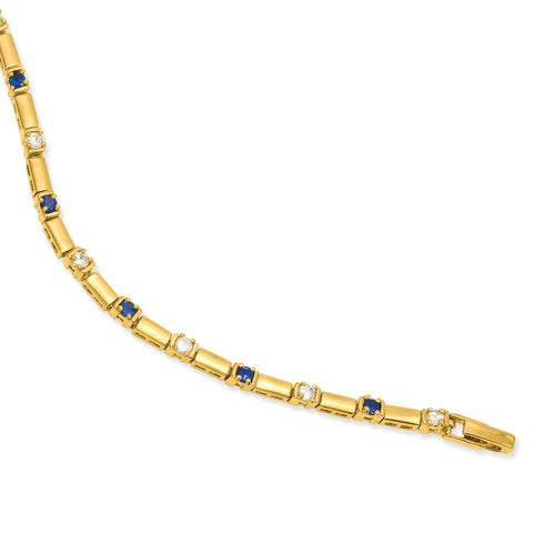 7.5in Gold-plated Kelly Waters Blue and White CZ Bracelet