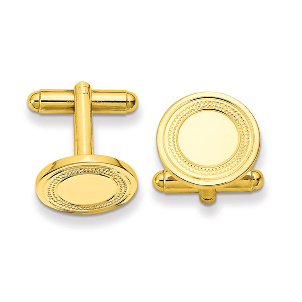 Gold-plated Kelly Waters Round Cuff Links with Inside Ring