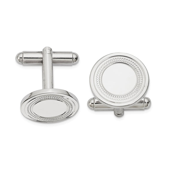 Rhodium-plated Kelly Waters Round Cuff Links with Inside Ring