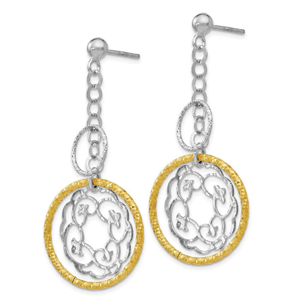 Leslie's Sterling Silver Gold-tone Flash Plated Post Dangle Earrings