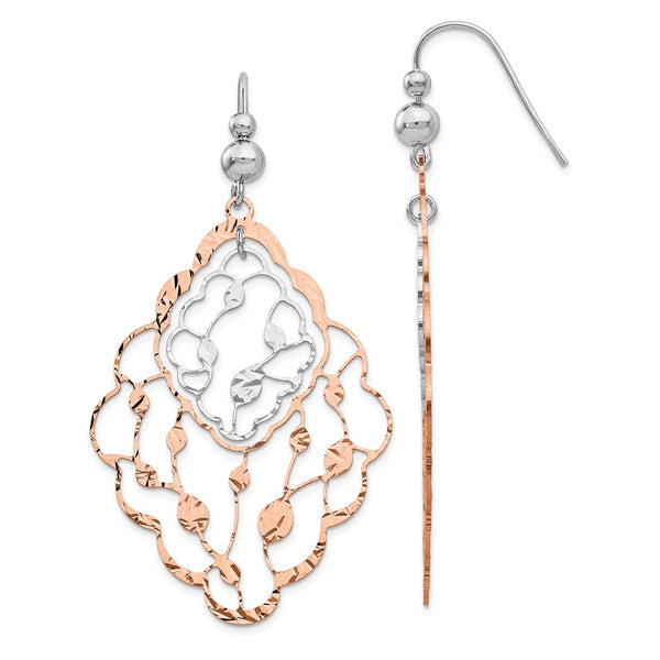 Leslie's Sterling Silver Rose-tone Flash Plated Dangle Earrings