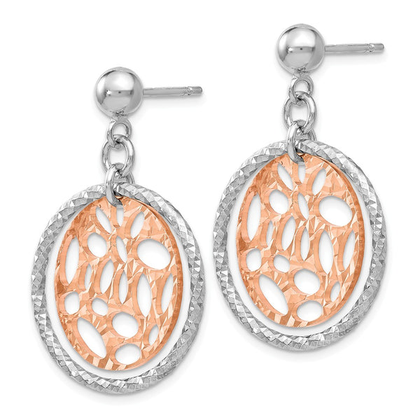 Leslie's Sterling Silver Rose-tone Flash Plated Post Dangle Earrings