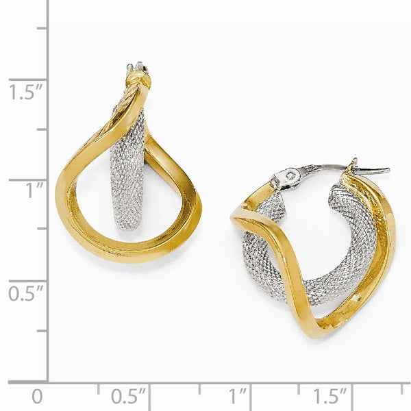 Leslie's 14k Two-tone Polished Textured Twisted Hoop Earrings