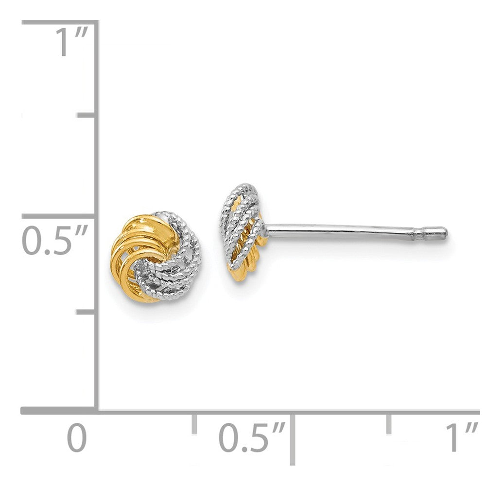 Leslie's 14k Two-tone Polished and Textured Love Knot Post Earrings