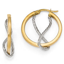 Load image into Gallery viewer, Leslie's 14k Two-tone Polished Textured Hoop Earrings