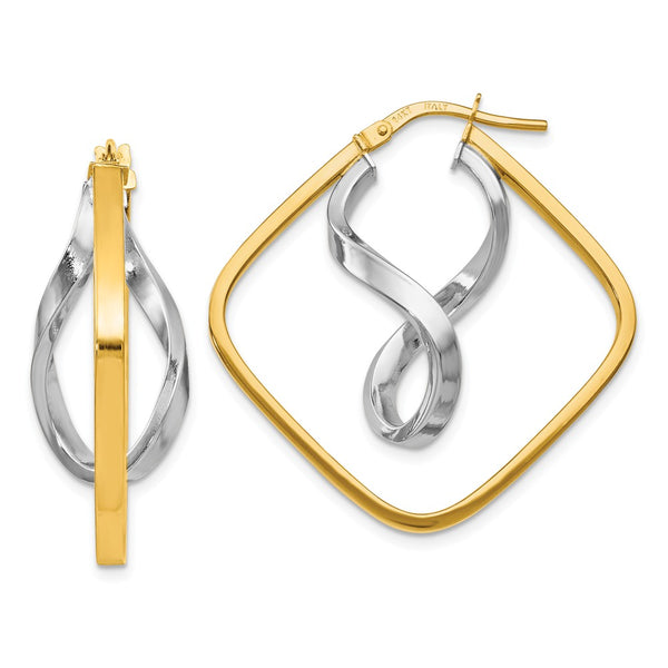 Leslie's 14k Two-tone Gold Fancy Twisted Square Hoop Earrings