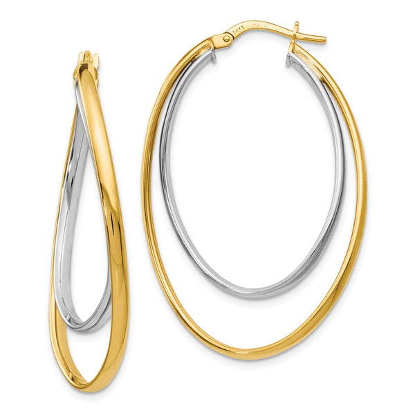 Leslie's 14k Two tone Polished Fancy Hoop Earrings