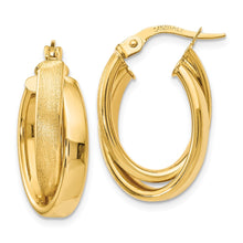 Load image into Gallery viewer, Leslie's 14k Polished Scratch-finish Oval Hoop Earrings