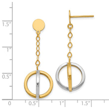 Load image into Gallery viewer, Leslie's 14k with Rhodium Polished Circle Dangle Earrings