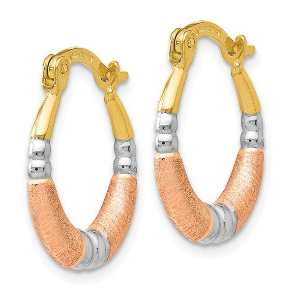 Leslie's 14k Rose Gold with Yellow and White Rhodium Hoop Earrings