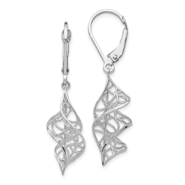 Leslie's 14k White Gold Textured Dangle Leverback Earrings