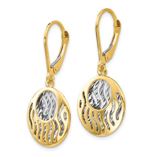 Leslie's 14k with Rhodium-plated Polished D/C Leverback Earrings