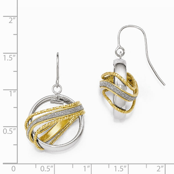 Leslie's 14k Two-tone  D/C Glitter Infused Dangle Earrings