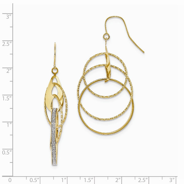 Leslie's 14k Polished D/C Glitter Infused Dangle Earrings