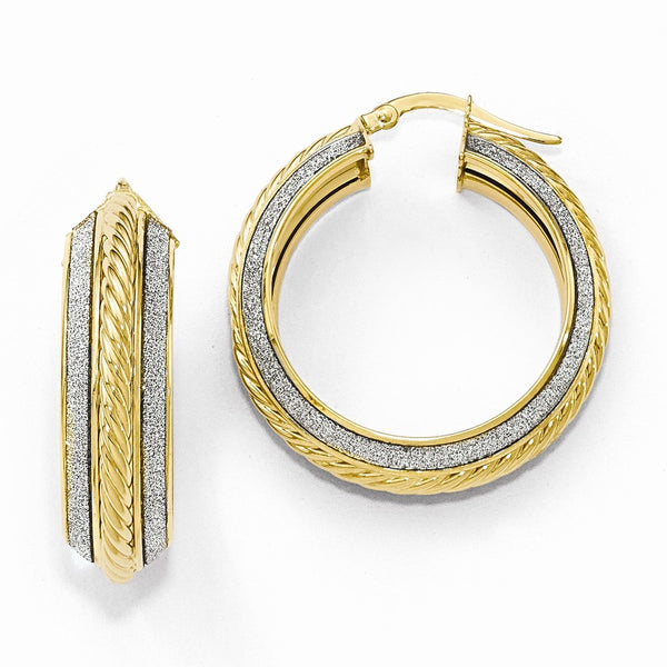 Leslie's 14k Polished Glitter Infused Hoop Earrings