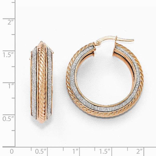 Leslie's 14k Rose Gold Polished Glitter Infused Hoop Earrings