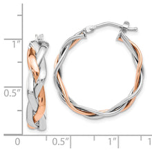 Load image into Gallery viewer, Leslie's 14k Two-tone Braided Hoop Earrings