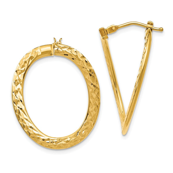 Leslie's 14k Polished D/C Twisted Hoop Earrings