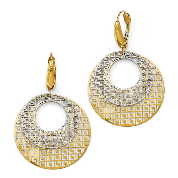Leslie's 14k Two-tone Polished Filigree Leverback Earrings