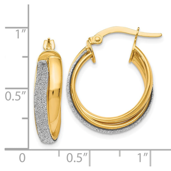 Leslie's 14k Fancy Glimmer Infused Hoop Earrings