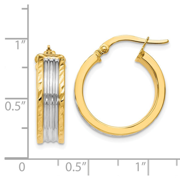Leslie's 14k w/ White Rhodium Hoop Earrings