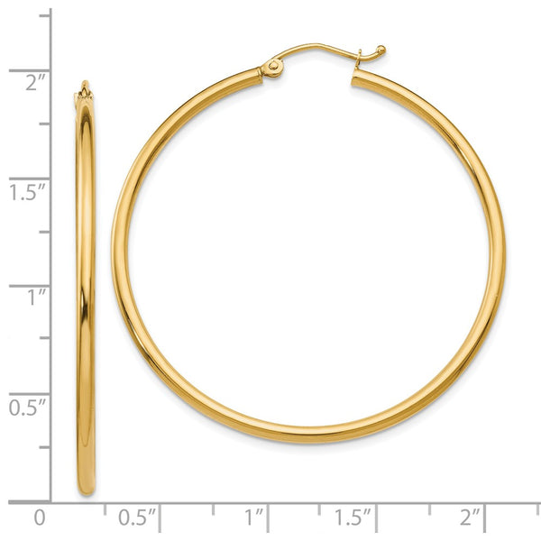 Leslie's 14K 2mm Polished Hinged Hoop Earrings