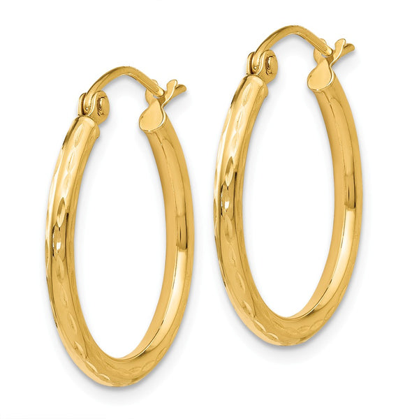 Leslie's 14K Diamond-cut Hinged Hoop Earrings