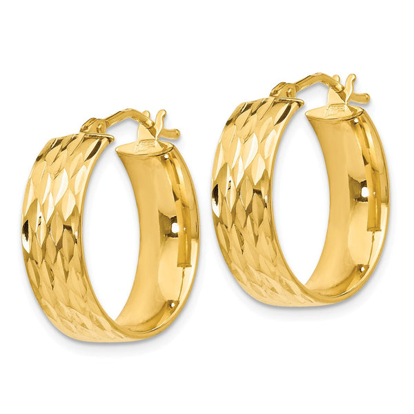 Leslie's 14k Polished and Diamond-cut Hoop Earrings
