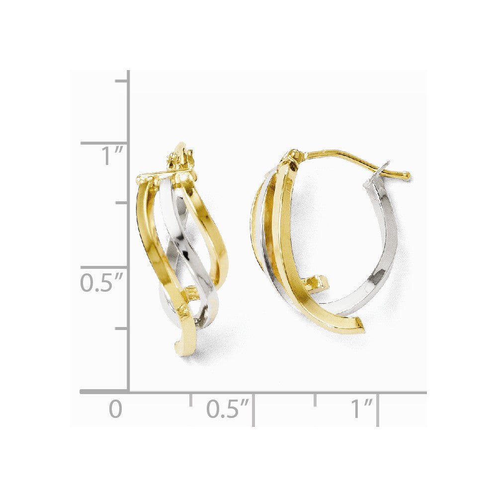 Leslie's 14k Two-tone Polished Fancy Oval Hinged Hoop Earrings