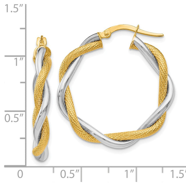 Leslie's 14k Two-tone Polished &Textured Twisted Hoop Earrings