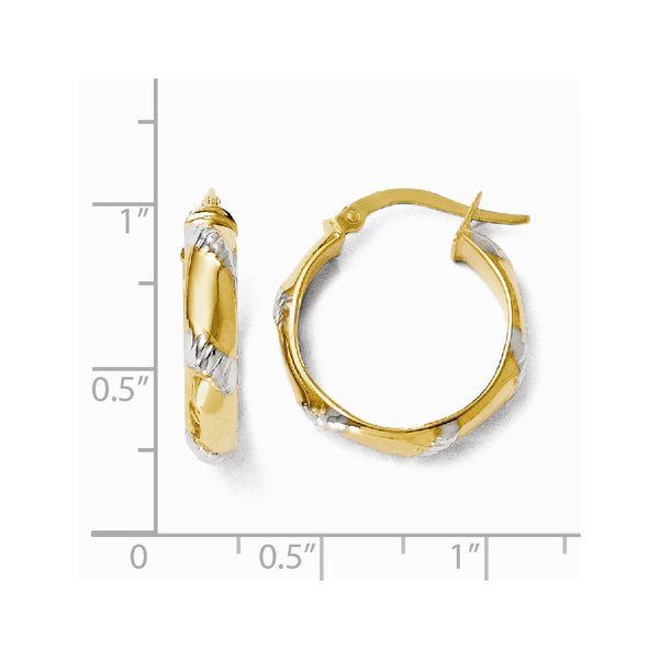 Leslie's 14k and White Rhodium Polished and Textured Hoop Earrings