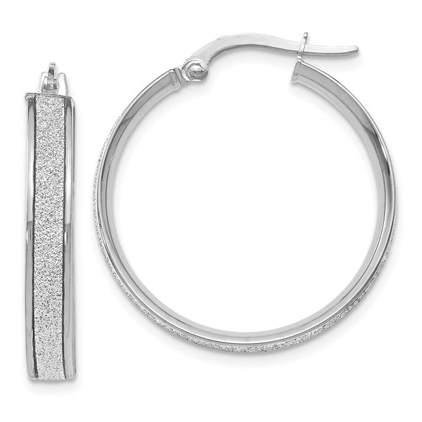 Leslie's 14k White Gold Polished Glimmer Infused Hoop Earrings