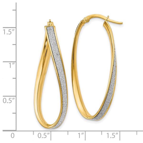 Leslie's 14k Polished Glimmer Infused Oval Twist Hoop Earrings