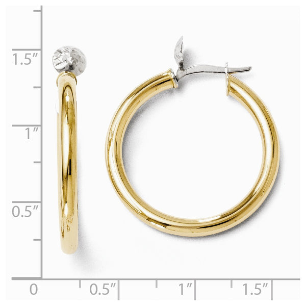 Leslie's 14k Two-tone Polished and Diamond-cut Hoop Earrings