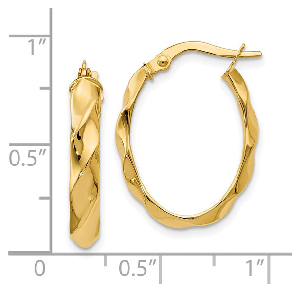 Leslie's 14k Polished and Twisted Oval Hoop Earrings