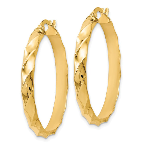 Leslie's 14k Polished and Twisted Hoop Earrings