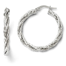 Load image into Gallery viewer, Leslie's 14k White Gold Twisted Triple Twist Hoop Earrings